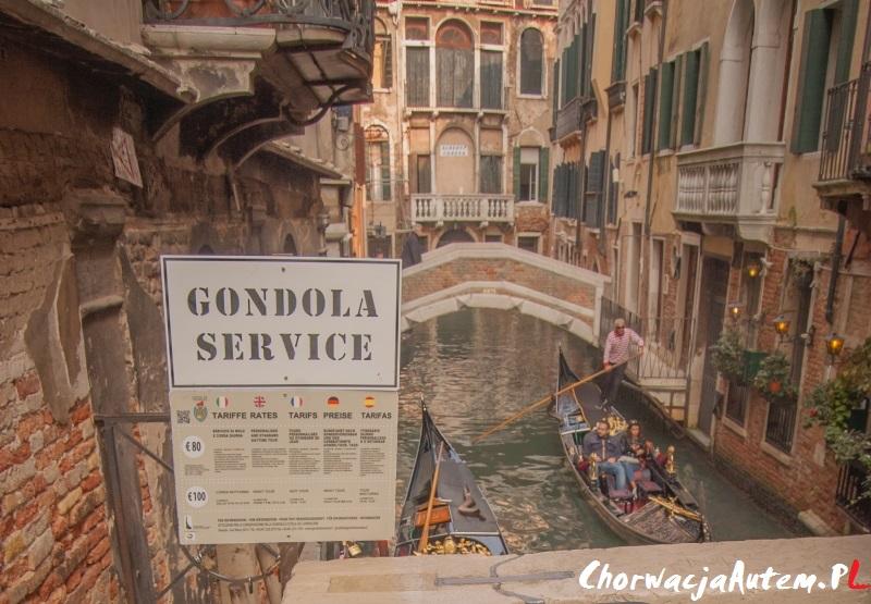 Wenecja gondole opłaty