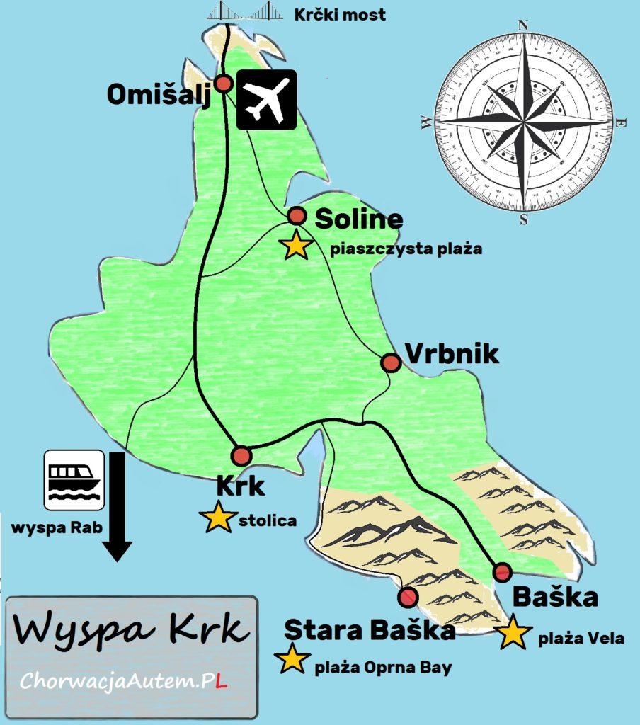 wyspa Krk mapa