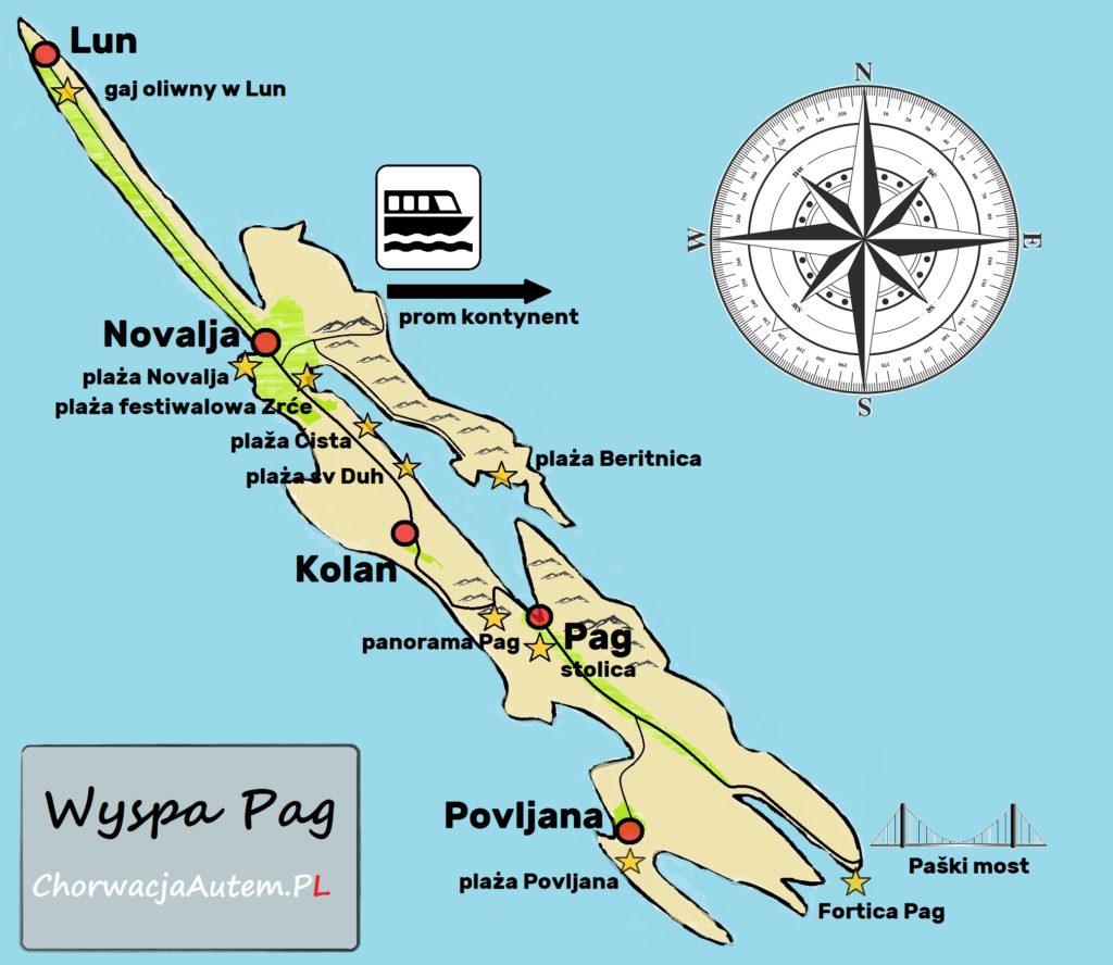 wyspa Pag, mapa, plan