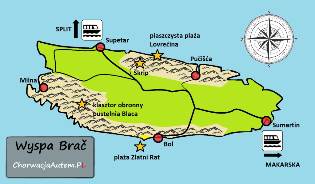 wyspa Brać, mapa, plan