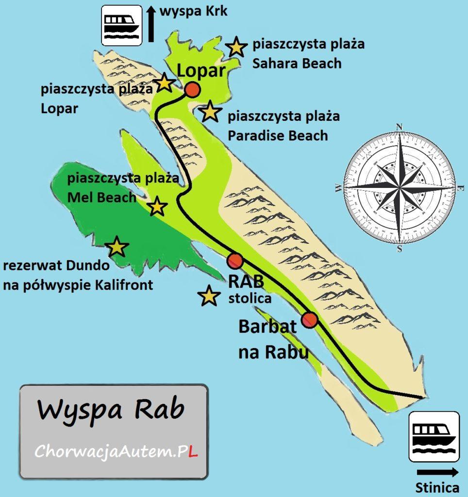 Wyspa Rab, plan, mapa turysyczna