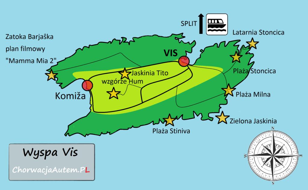 wyspa Vis, mapa turystyczna, plan